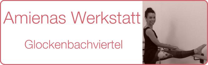 Schriftzug: Amienas Werkstatt - Glockenbachviertel, Yogastudio Muenchen