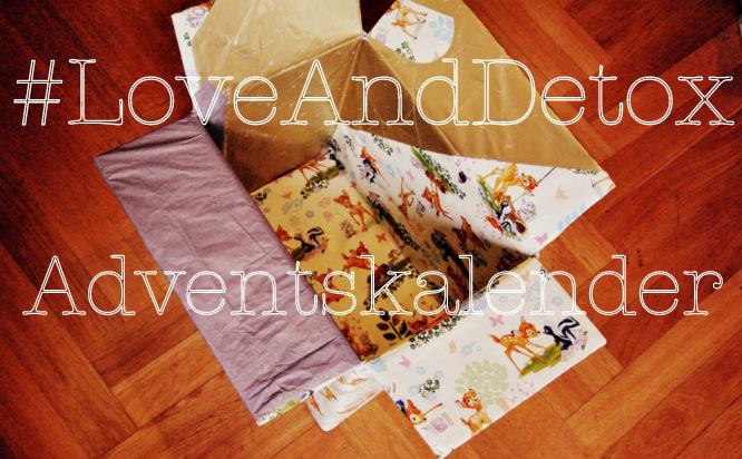 Schriftzug: #LoveAndDetox Adventskalnder, leere, beklebte Pappkiste, die mit Spenden befüllt werden soll